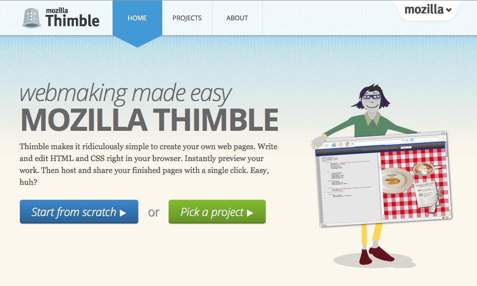 Mozilla Thimble web site