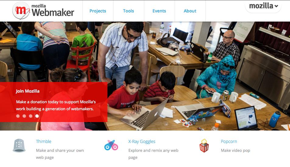 Mozilla Webmaker.org web site