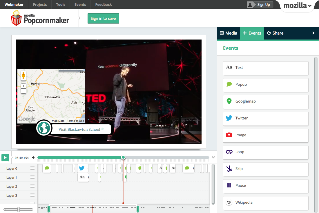 TED Talk Popcorn Maker screen grab