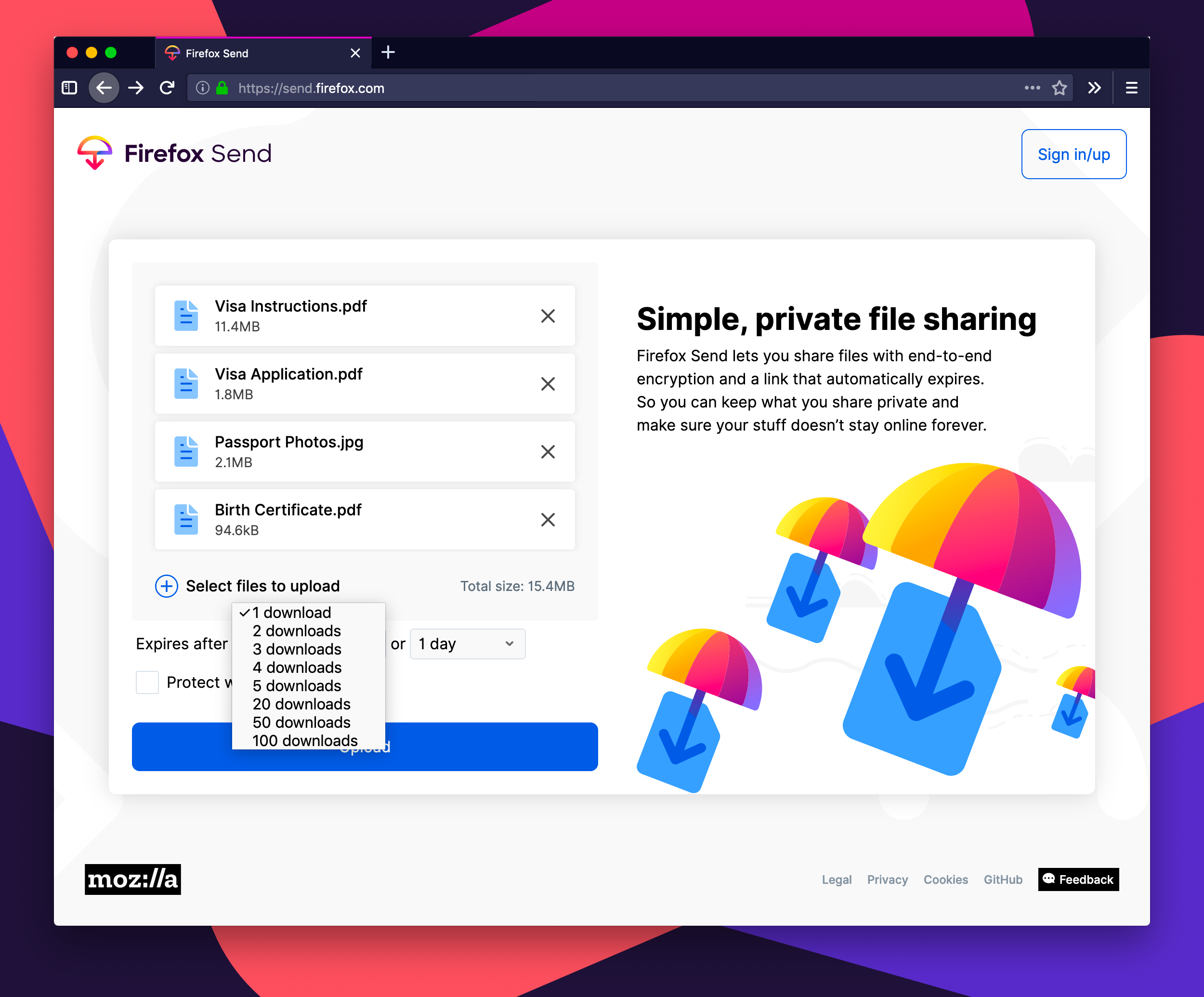Firefox Send - Transfer Big Data!