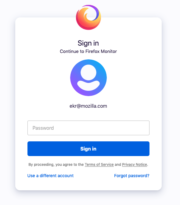 Firefox accounts login box